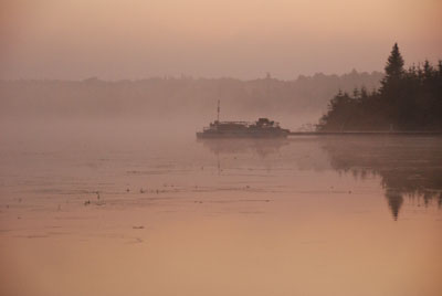 foggy lake morning