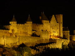 Carcassonne Castle at Night (Alan1954) Tags: holiday france castle beautiful night europe nightshot tripod clear lit 2009 cathars carcasonne platinumpeaceaward