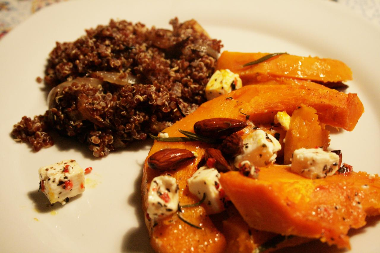 baked pumpkin with red quinoa