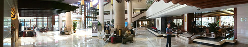 Panoramic photo of our hotel lobby