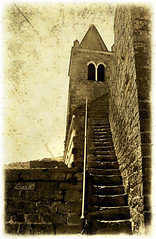 The bell tower St Peter's, lost in time (Portovenere) (in eva vae) Tags: old bw italy texture monochrome sepia lost time stones liguria belltower steeple staircase portovenere estremit platinumheartaward artofimages platinumpeaceaward bestcapturesaoi sailsevenseas inevavae