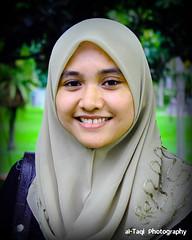 My wife (Taqirumi) Tags: park cute smile smiling photoshop happy pretty teeth muslim hijab wife klcc exposed flowerofislam