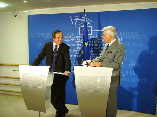UEFA Boss Michel Platini meets EP Jerzy Buzek (Photo: ajburgess/Flickr)