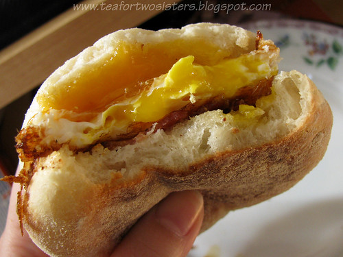 Homemade bacon and egg McMuffin, closeup