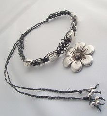 Hemp Jewelry-Black Hemp Necklace/Choker w/ Silver Flower Pendant (Totally Hemp) Tags: silver necklace beads pendant choker naturalhempjewelryaccessoriesfiberknottedhandmadegifthippie
