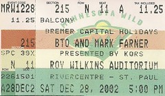 12/28/02 BTO/Head East/Mark Farner @ St. Paul, MN (Ticket)