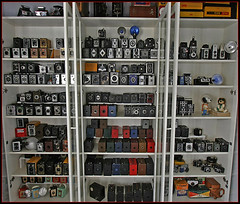 When Box Cameras go to Heaven... (a collection glimpse) (Inspiredphotos) Tags: camera blue red brown black green tower 120 tlr film zeiss vintage lomo kodak box vrede flash collection snoopy brownie valiant coronet beau kamera spartus 620 flashbulb ferrania starflash