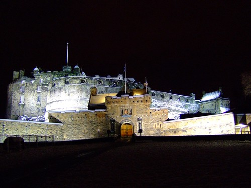 Edinburgh Castle, snowy December evening