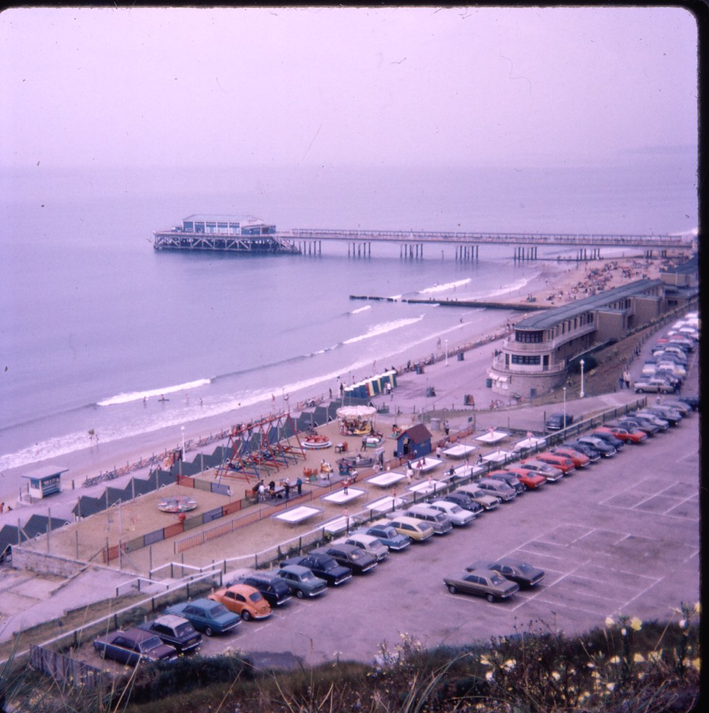 OVERSTRAND CAR PARK, HONEYCOMBE CHINE AND BOSCOMBE PIER.  BOURNEMOUTH. DORSET.  JUNE 1973