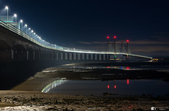 Night under the Severn Bridge (technodean2000) Tags: night under the severn seven bridge estuary blue hour nikon d610 lightroom street lights reflection england bristol channel chanel sky overpass architecture outdoor hall cloud