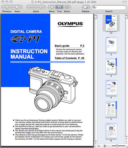 Olympus E-P1 Manual
