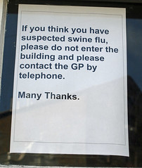 Swine flu sign - photo by alancleaver_2000 on Flickr licensed under Creative Commons
