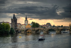 Charles Bridge sunset (wili_hybrid) Tags: bridge sunset photo colorful czech prague photos picture pic charlesbridge vltava hdr