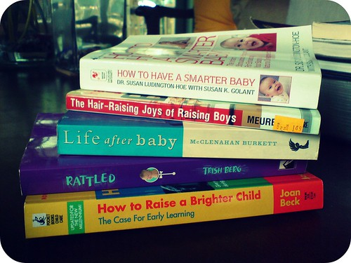 Baby books on the table