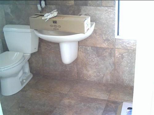 Porcelain tile floor and walls