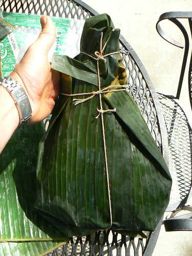 Ham wrapped in banana leaf