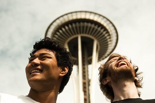 Meg og Jon foran The Space Needle, Seattle