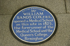 Photo of William Sands Cox blue plaque