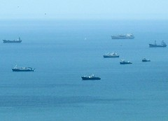 Ghostly Fleet (Reinalasol) Tags: ocean blue sea water boats bay aqua flickr turquoise april panama 2009 ancon waterscape waterscapes april2009 cerroancon panama2009 reinalasol