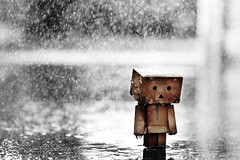 Just let it rain (Eleventh966) Tags: rain toy 50mm amazon nikon dof bokeh explore figure raindrops f18 18 frontpage japanesetoy danbo tasya d40 revoltech danboard