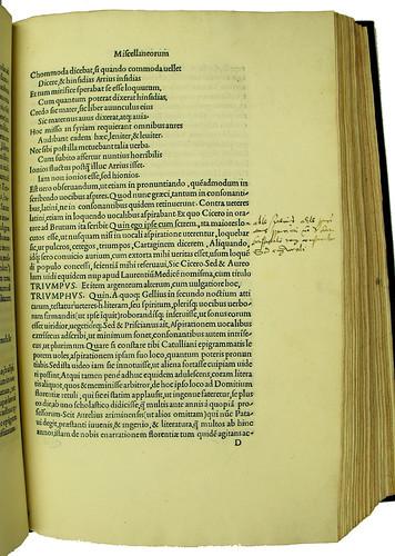 Latin annotations in Politianus, Angelus: Opera