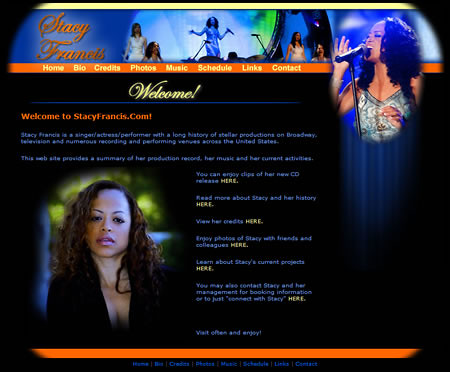 Music Artist Website - Stacy Francis