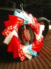 Origami Pendant - Cherry Blossom Picnic (umeorigami) Tags: blue red white glassbeadorigamichiyogamipendantjewelrycrafthandmadeetsy