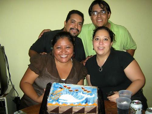 Gabriel, Mauricio, Mireya y Myrna, los cumpleañeros