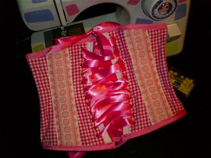 pink handmade sewing underbustcorset