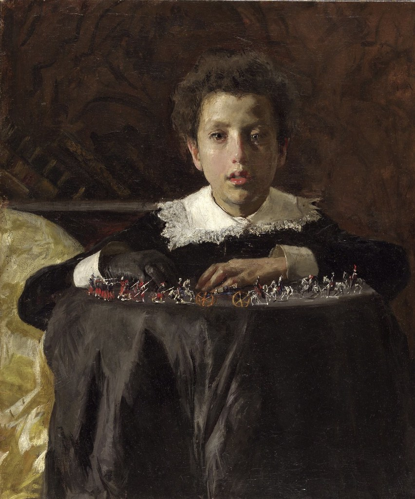 Mancini, Antonio (1852-1930) - 1876c. Boy with Toy Soldiers (Philadelphia Museum of Art, U.S.A.)