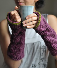 Freezebaby Mittens - classic cable chunky handknit long mittens in purple and olive green also made to order in other colors (eveldasneverland) Tags: winter fall fashion women knitting fig cable gloves aubergine accessories mittens armwarmers fingerlessgloves etsyfastteam