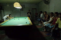 rivera's billiard hall and catering with beer (.emong) Tags: street people game sports pool night lumix lowlight philippines documentary panasonic mandaluyong billiardhall lx3