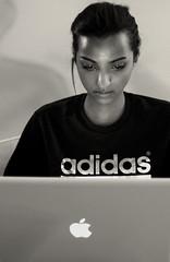 Bruna Cabanne (madalena.leles) Tags: brazil bw woman apple brasil computer notebook laptop sopaulo mulher pb adidas mcintosh brunacabanne