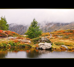 Alpine colors (Tambako the Jaguar) Tags: trees plants lake mountains alps water clouds switzerland nikon rocks colorful pass frame simplon d300 kulm topseven