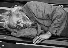 To sleep! Perchance to dream ... (Canadapt) Tags: portrait blackandwhite bw man portugal bench sleep lisboa lisbon homeless shakespeare ring rest dignity hamlet alfama canadapt jmpick