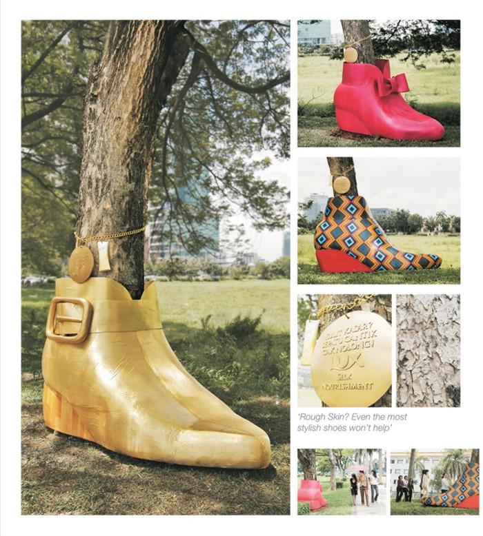 iklan-lux-display-sepatu-di-batang-pohon