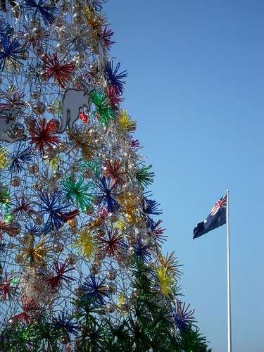 Darling Harbour Christmas Tree (Australian Flag in Background)