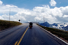 BikerChick ready for Take Off (carfull...) Tags: park mountain rocky harley national motorcycle biker hd davidson