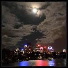 Massive cloud and beautiful moon (Amit Ambardar) Tags: light moon colour reflection water night clouds canon eos lights cityscape sydney nsw lunar canoneos7d