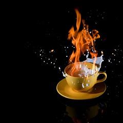 Flambe (ICT_photo) Tags: coffee fire smoke sb600 cream drip flame splash flambe strobist
