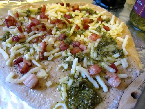 pesto pancetta whole wheat pizza