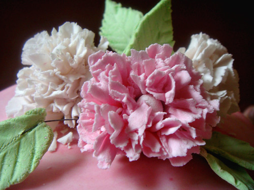 Carnations on a cake