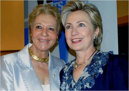 With her friend Hillary  Clinton, now Secretary of State, a strong supporter of Greece.