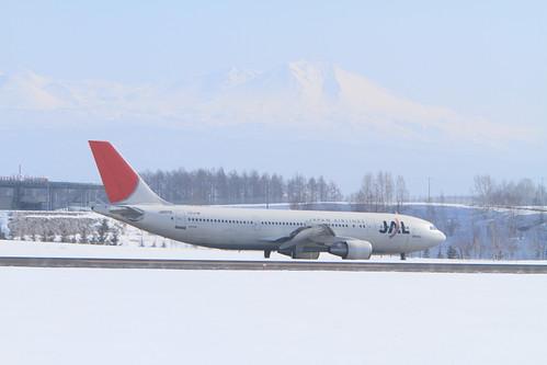 JAL's A300-600R with snowly Mt. Daisetsuzan
