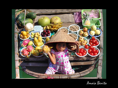 Fancy a pinapple? (Amaia Benito) Tags: travel viaje portrait girl fruit bay boat asia foto barcos market retrato vietnam fruta mercado pineapple seller floatingmarket halong halongbay pia fruitseller mercadoflotante bahiahalong amaiabenito