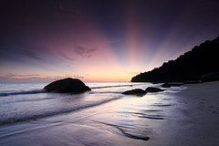 Magic Light - Penang National Park, Malaysia (fwukai (in time-lapse mode)) Tags: longexposure light seascape color beach sunrise landscape twilight sand magic wave beam jungle malaysia penang monkeybeach telukbahang pulaupinang mukahead penangnationalpark telukduyung