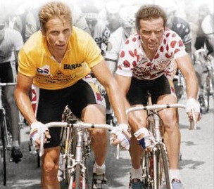 LeMond and Hinault on the cover of Slaying the Badger.