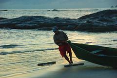 photo model once, on an early morning... (@petra) Tags: petra memoriesofgonesummertimes boat fisherman seaside beach rocks sunrise earlymorning