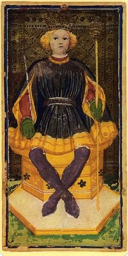 012- Rey de Bastos- Tarot Viscoti-Sforza