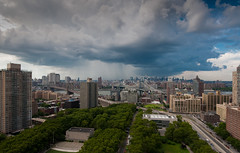 Rain over Manhattan (Diacritical) Tags: nyc bridge trees sky water rain skyline clouds river geotagged manhattan brooklynbridge shutter manhattanbridge eastriver cadmanplaza d90 14mm 1424mmf28 geo:lat=40696843 geo:lon=73989443
